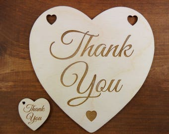"Wedding Thank You Heart Sign / Anniversary Decor 6"" x 6"" x 1/8"" Etched Laser Cut Wood Shapes"