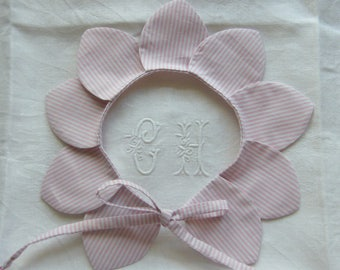 Pink and white striped cotton petal collar removable 2/4/6/8/10/12/14 years