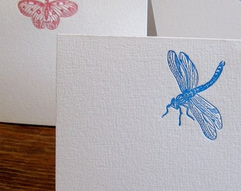 Set of 4 Letterpress Dragonfly and Butterfly (2 each) Note Cards with Envelope