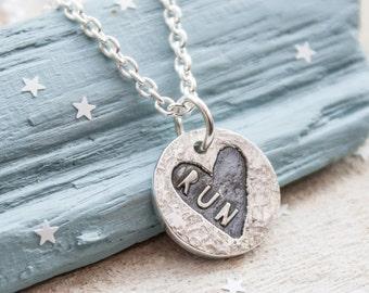 Runners Necklace, Sweet Heart Silver Running Necklace, Gift for Runner, Running Jewellery, Marathon, Half Marathon, Run Necklace, 13.1, 26.2