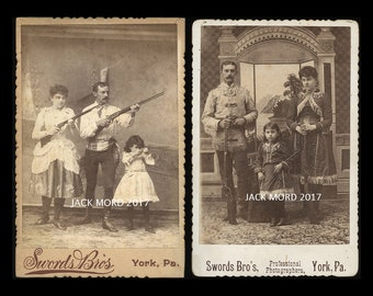 1880s Cabinet Card Photo - Family of Sharpshooters