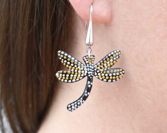 Long Dragonfly handpainted Enamel Earring