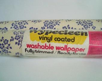 Vintage wypecleen vinyl coated washable wallpaper blue floral