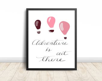Adventure is out there print - Nursery print - digital print - hot air balloon print - wall prints - nursery art - nursery decor - wall deco