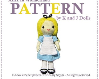 ENGLISH Instructions - Instant Download PDF Crochet Pattern Alice in Wonderland doll