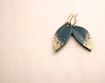 Mini Teal, Pewter and Gold Hand-painted Reclaimed Leather Leaf Earrings
