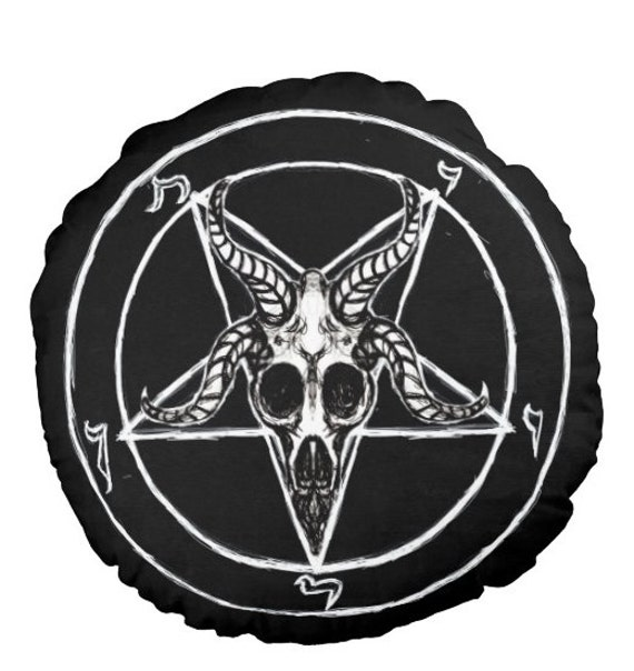 Baphomet Pentagram Round Pillow