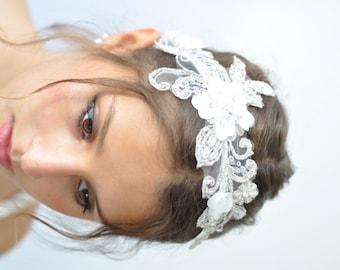 BRIDAL HEADBAND Beaded head piece Crystal lace,Bridal Hair Accessories,Floral Bridal Lace Headband,Bridal fascinator hairpiece vintage style