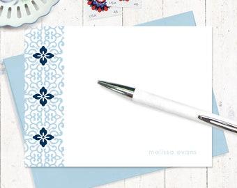 personalized note card set - ORNAMENTAL FLOWER - set of 12 flat note cards - pretty stationary - feminine stationery - custom gift set