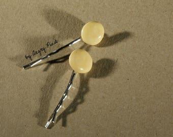 Hair pins round yellow ceramic