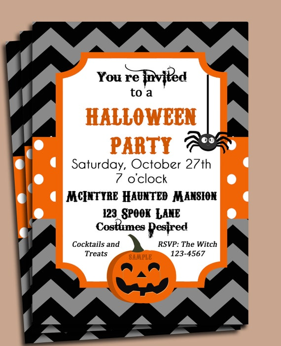 Halloween Party Invitation Printable or Printed with FREE