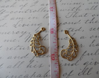 Filigree Openwork Raw Brass Leaves 29mm