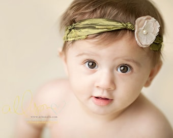 Aliouetta - Halo Headband Wrap - Olive Green Satin Knotted Ties - Nude Lace Flower Pearl- Girls Newborns Baby Infant Adults - Photo Prop