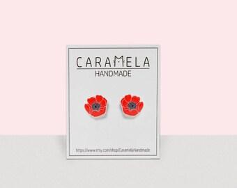 Poppy flower Flowers Stud Earrings Poppy earrings Post earrings Red earrings Remembrance Sunday earrings Gift idea for her