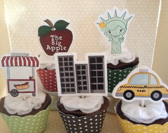 New York City Party Cupcake Topper Decorations - Set of 10
