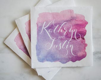 Custom Watercolor Napkins, Full Color Cocktail Napkins, Custom Printed Napkins, Wedding Napkins, Personalized Napkins, Colorful Party Napkin