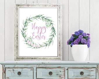 Easter Printable Digital Wall Art - Happy Easter