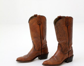 American eagle cowboy boots, vintage brown leather boots by Acme women's size 5.5
