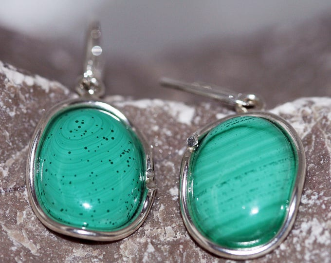 Unusual light green shade Malachite Earrings fitted in sterling silver setting. Handmade & unique.