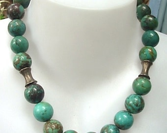 Huge Natural 18 mm. Turquoise beads,Thai Karen silver beads Necklace