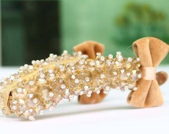 Beige ball Crystal Pattern and Bow cloth Banana Hair Claw Clip