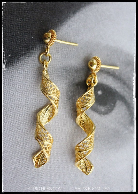 Earrings Filigree Silver  SPIRAL Portugal  24k Gold Bath Made in Portugal SHIPS FroM USA