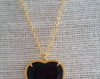 SALE: Black Heart Shaped Pendant on Gold Plated Chain