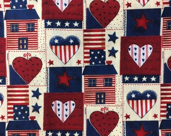 Americana/ Hearts And Houses/ Cotton Fabric/ Sold By The Half Yard