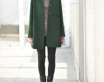 423---Women's Green Wool Coat, Vintage A Line Coat, Minitary Outerwear.