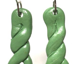 Green polymer clay Drop earrings with a twist