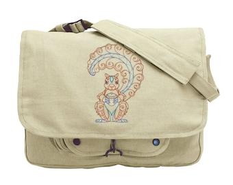 Acorn Harvest Squirrel (Vintage) Embroidered Canvas Messenger Bag