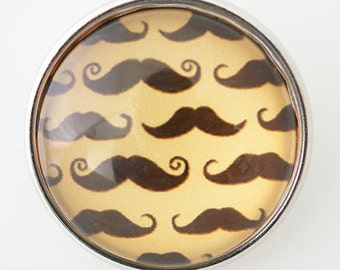1 PC 18MM Mustasche Glass Dome Silver Candy Snap Charm KB2915 Cc0363