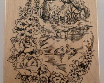 Fun Stamps 1992 Flower Cottage With Swans And Lake R06 Wooden Rubber Stamp
