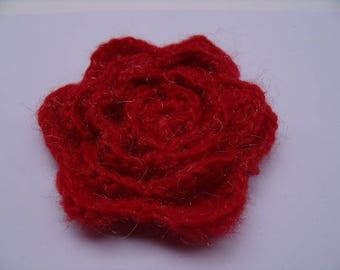 vintage knitted red flower brooch