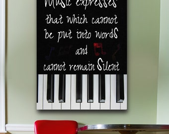 Music Expresses Canvas Framed Wall Art Music Piano Keys Music Expresses That Which Cannot Be Put Into Words And Cannot Remain Silent