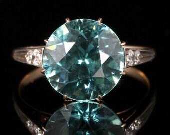 Antique Edwardian Blue Zircon Diamond Ring 18ct Gold 4.50ct Blue Zircon