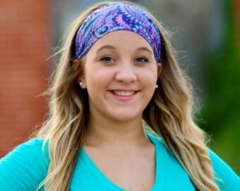Paisley Headband, Paisley Head Wrap, Sport Headwrap, Pretied Headwrap, Purple Woman Headband (#1030) S