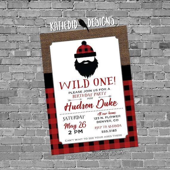 wild one birthday invitation lumberjack buffalo check plaid burlap rustic tribal arrow baby shower couples coed red | 2009 Katiedid Designs