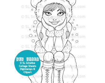 Winter Girl Digistamp Digital Stamp Hipster In Snow Coloring Page By