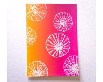 Sea urchin print, Linocut card, Original art, Thank you cards, Paper handmade greeting cards, Lino print, Artist cards, Hand pulled print