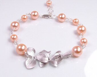 Peach Pearl Bracelet, Pearl and Orchid Bracelet, Peach Bridesmaid Jewelry, Peach Pearl Wedding Jewelry, Sterling Silver Wire Wrapped