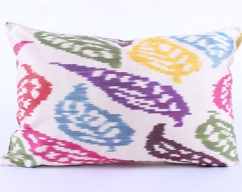 Ikat Pillow Cover,Riot of Colors, Polka Pillowcase, Decorative Pillows,  Couch  Pillows, Ikat Pillowcase, Silk, Eclectic Home Decor