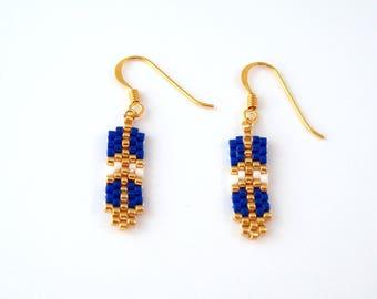 Boucles d'oreilles plume - bleu  - plaqué or