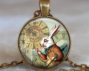 White Rabbit pendant, Alice jewelry, Alice in Wonderland pendant, Wonderland jewelry, White Rabbit necklace, key chain key ring key fob