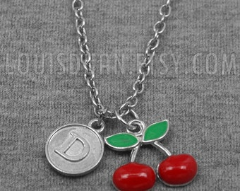 Cherry Necklace -Fruit Necklace -Initial Charm Necklace -Your Choice of A to Z