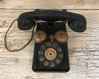 Vintage Children's Play Telephone - Rustic Metal Toy Phone