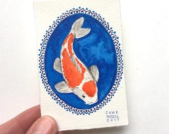 Koi Tiny Original Watercolor Painting OOAK Free Shipping