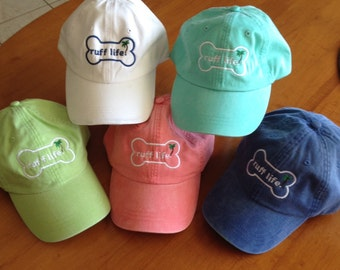 Ruff Life Embroidered Baseball hats, pigment dyed, adjustable, Dog lovers gift! cap for dog lovers, and pet owners