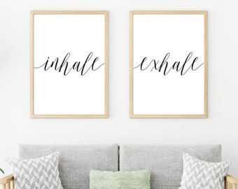 Inhale Exhale Home Decor Wall Art, Bedroom Wall Decor Over the Bed, Home Wall Sign, Wall Art Prints Quotes, Office Wall Art, Wall Prints Art
