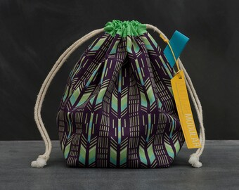 Sock Project Bag Knitting Crochet WIP - Mint and Purple Arrows by Ty Pennington